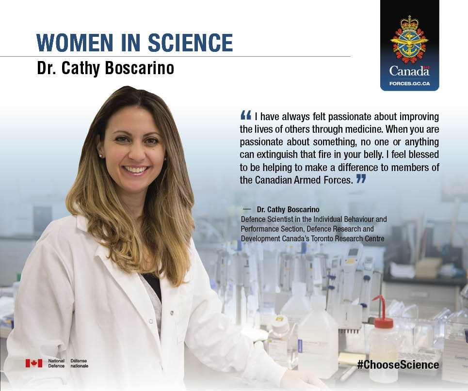 Dr. Cathy Boscarino, Defence Scientist in the Individual Behaviour Performance Section, Defence Research and Development Canada's Toronto Research Centre