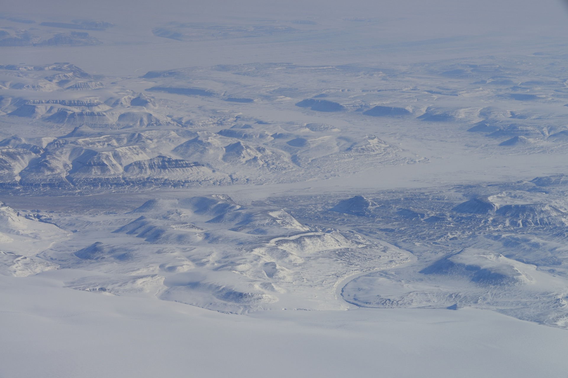 Aerial view of Arctic landscape on northern Ellesmere Island, en route between CFS Alert and Thule, Greenland.  