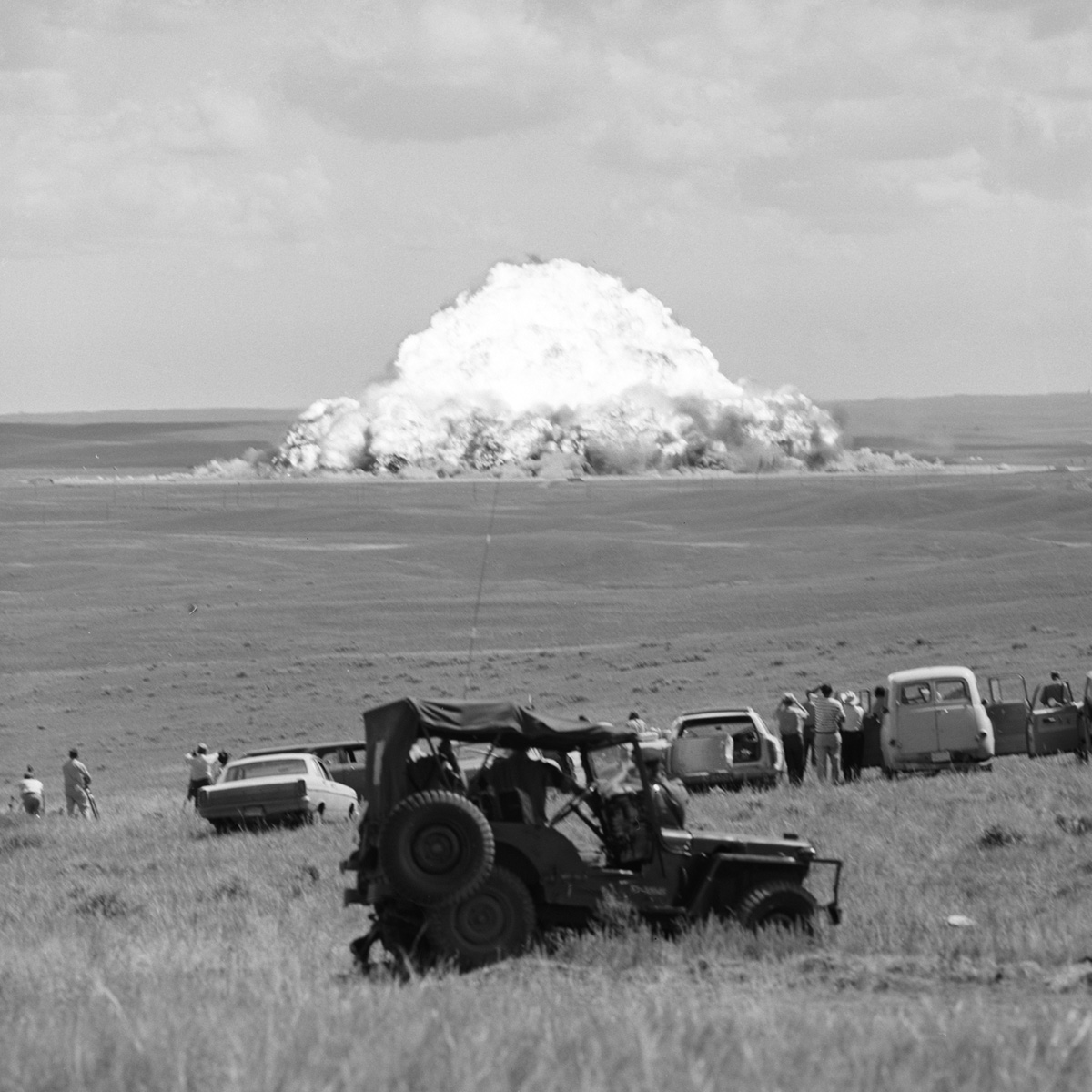 Two of the largest explosives trials conducted on the EPG were carried out in partnership with a number of allied countries in the 1960s.  Operation Snowball and Operation Prairie Flat were both undertaken to provide technical information relatable to the detonation of nuclear weapons by creating an explosion using 500 tonnes of TNT. Photo: DRDC.