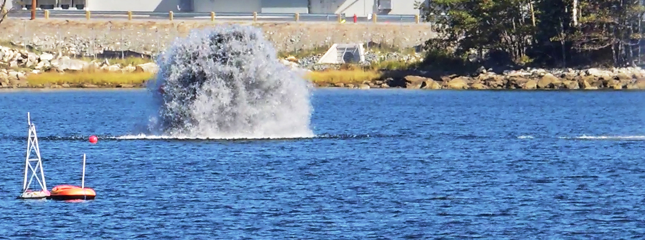 slide - Underwater explosion in Bedford Basin, Halifax, Nova Scotia triggered by Defence Research and Development Canada (DRDC) scientists and technologists as part of a series of international underwater trials.