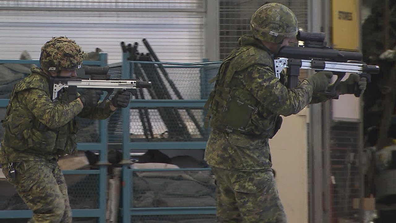 A Canadian Army soldier tests an early prototype of the next generation rifle.