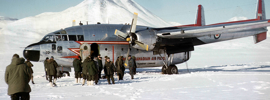 In 1957 a RCAF Flying Boxcar brought Defence Research supplies to Lake Hazen in the Arctic. DRDC Archive