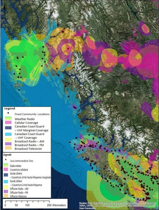 This map of British Columbia's coastal region displays which areas in the province are most at risk of tsunamis, based on the type of notification available to them (communication technology) as well as the strength of these notification systems (how far the signal can reach).