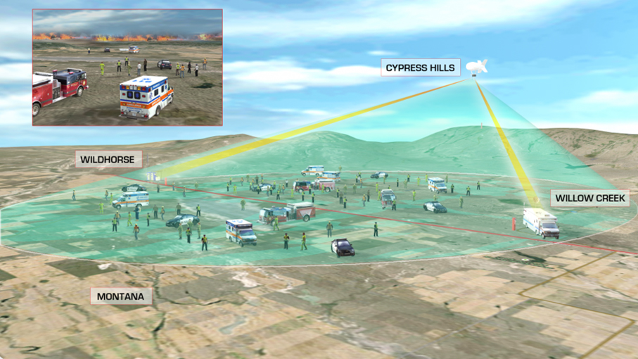 This graphic shows the scene on the ground during CAUSE III. There are fire trucks, paramedics, and police cars set up in and around Wildhorse, Cypress Hills, and Willow Creek in Canada, and Montana in the U.S. The image shows the Cell on a Balloon flying over Cypress Hills emitting a green bubble o