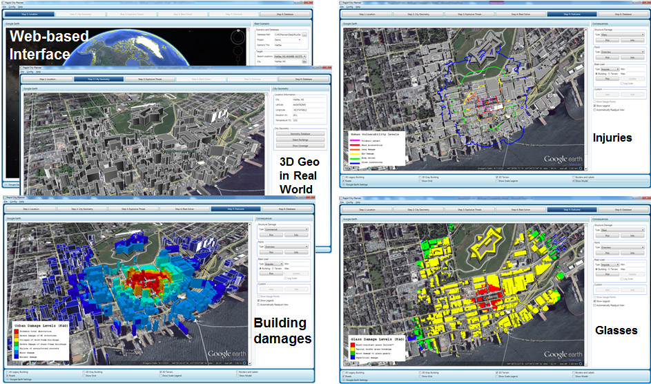 This image depicts the images generated by the Rapid City Planner assessment tool, particularly how the tool combines the use of internet-based mapping interfaces (such as Google Maps) and three-dimensional city/street views (such as Google Earth), along with Geographic Information System (GIS) technology.