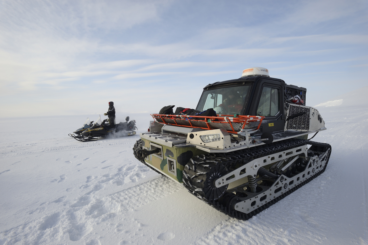 Defence Research and Development Canada and Canadian Armed Forces Joint Arctic Experiment (CAFJAE) 2016 participants test drive the Polaris Rampage vehicle during Operation NUNALIVUT at Resolute Bay, Nunavut, April 2, 2016.