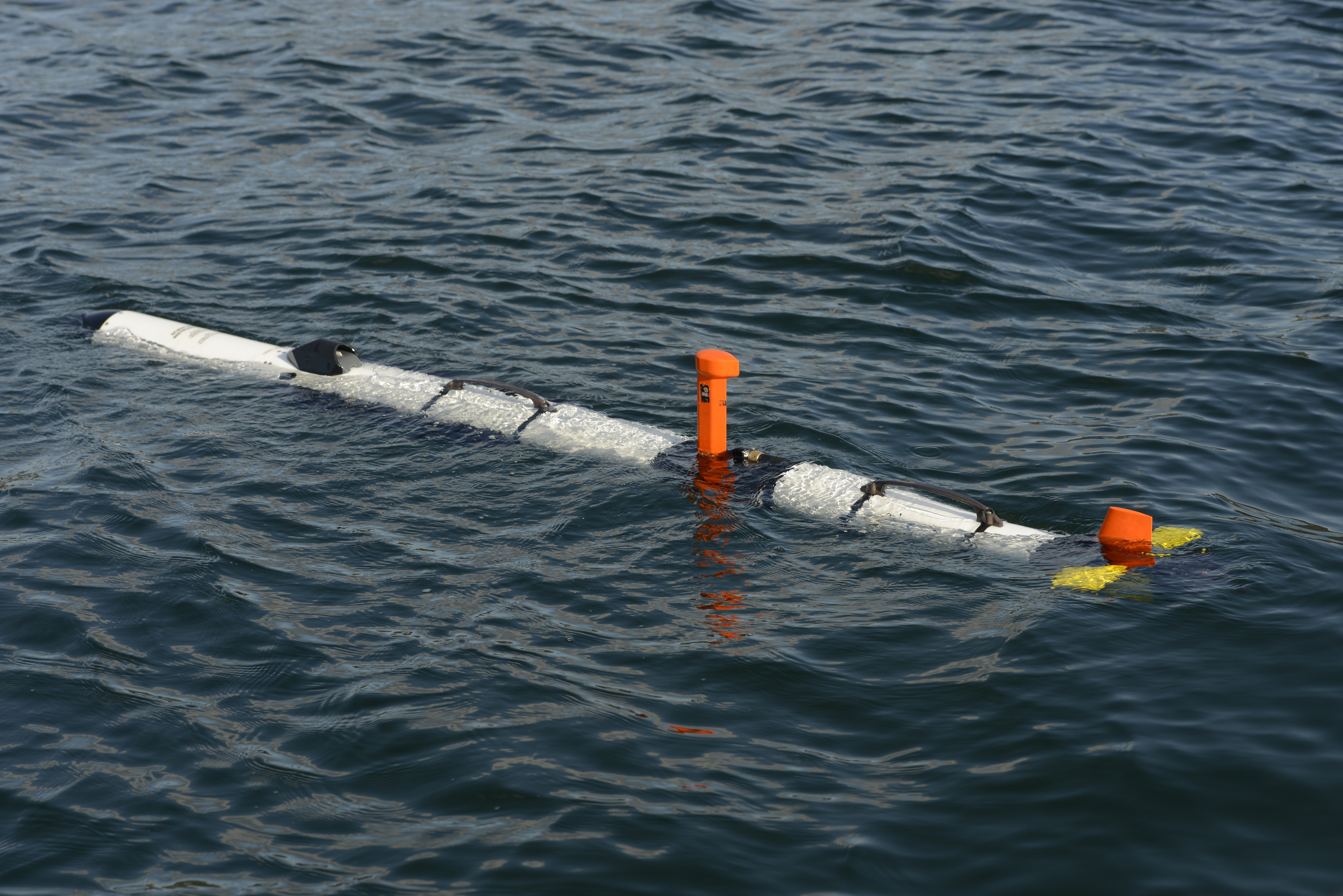 The Iver3 unmanned underwater vehicle waits on the surface before the start of an autonomous mission. Photo by Janice Lang, DRDC
