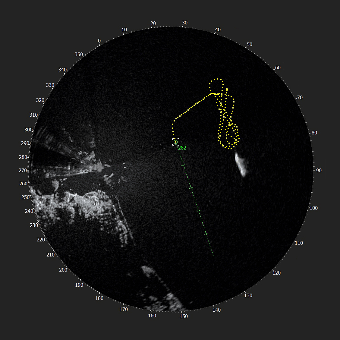 A computer interface showing a rescue craft travelling at 48.5 knots doing manoeuvres in Conception Bay South, Newfoundland & Labrador.  The yellow trails on the screen shows its route, captured through Rutter's sigma S6 Small Target Detection and Surveillance system.