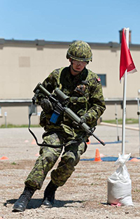 A Canadian soldier participates in the Canadian Load Effects Assessment Program.