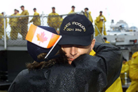 A member of the Royal Canadian Navy before a deployment.