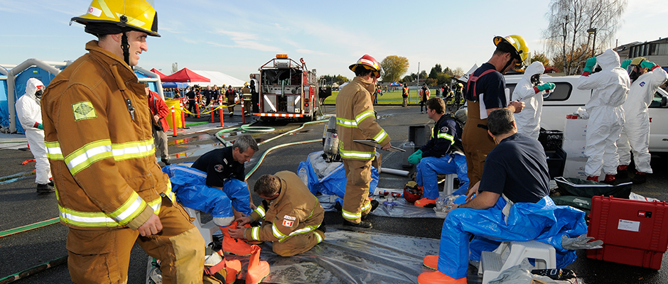 A full-scale live-action event simulates an emergency response approach.