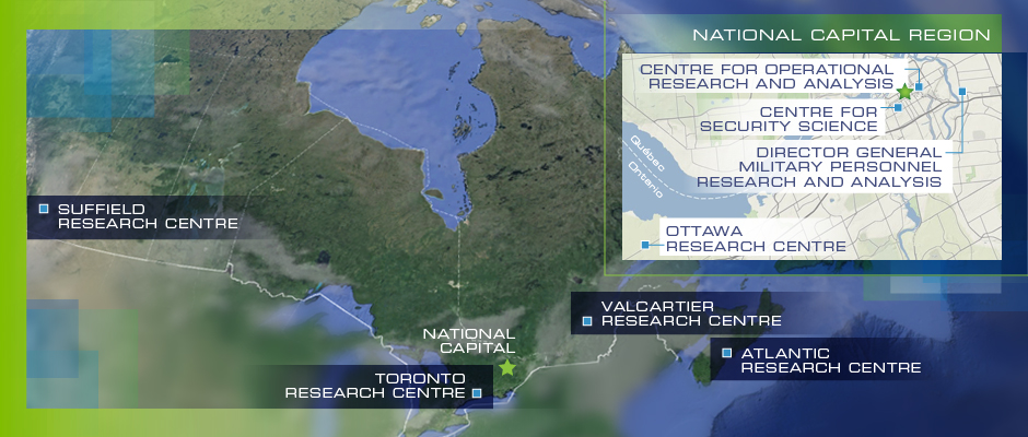 Map of DRDC's research centres