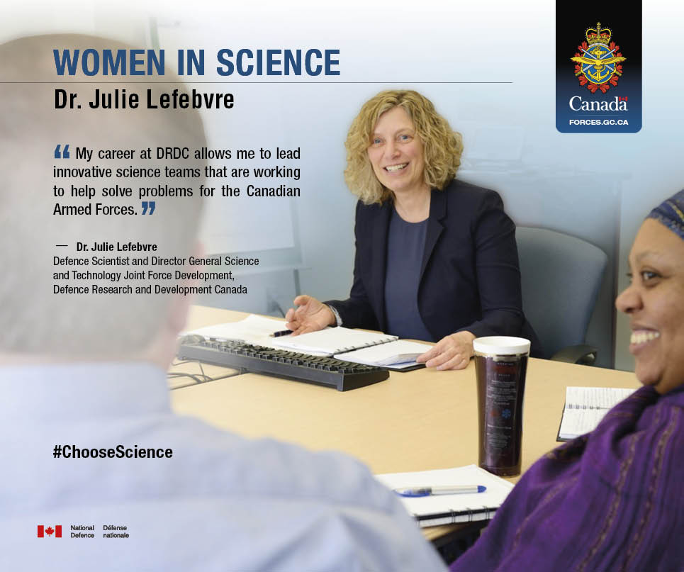 Dr. Julie Lefebvre, Defence Scientist and Director General, Science and Technology Joint Force Development, Defence Research and Development Canada.